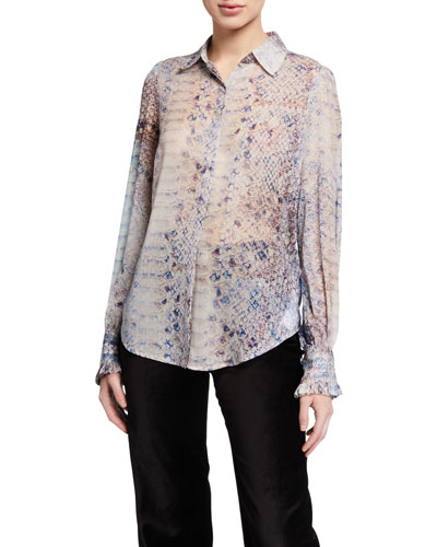 Ruffle-Cuff Button-Down Printed Top