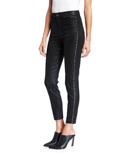 High-Waist Coated Ankle Skinny Jeans with Jeweled Stripes