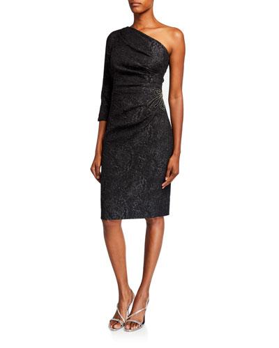 Stretch Jacquard One-Shoulder Dress w/ Beaded Waist Applique