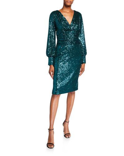 Sequin Blouson-Sleeve Ruched-Waist Cocktail Dress