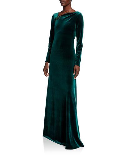Asymmetric Neck Long-Sleeve Velvet Gown