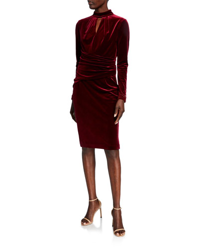 Mock-Neck Long-Sleeve Stretch Velvet Dress w/ Bead Trim