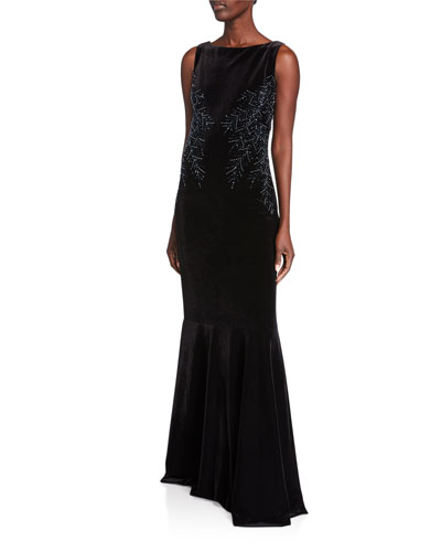 Sleeveless Back Drape Velvet Fishtail Gown with Beaded Trim