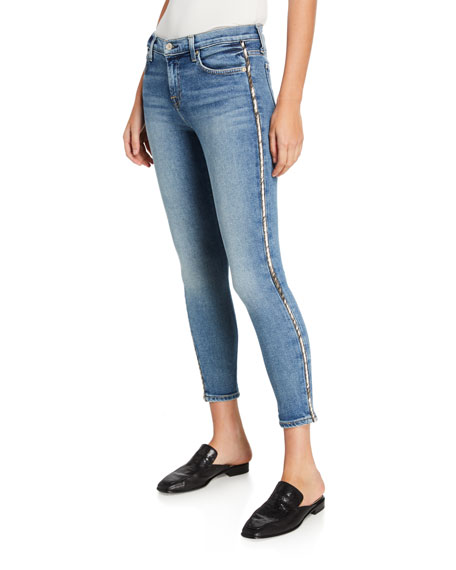 7 for all mankind Mid-Rise Ankle Skinny Jeans with Metallic Stripes