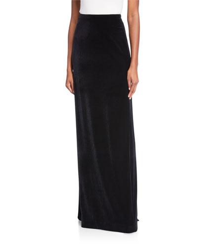 Velvet Long Column Skirt