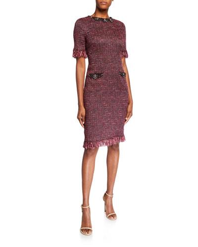 Stretch Tweed Short-Sleeve Dress with Jewel Trim