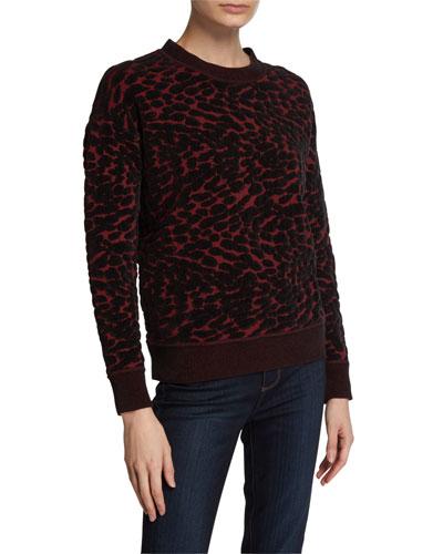 Cassia Leopard-Print Crewneck Sweater