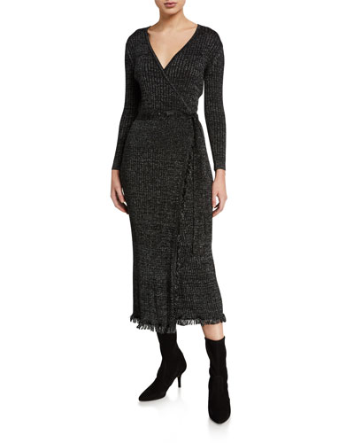 Bobbi Ribbed Metallic Wrap Dress