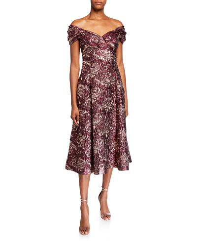 Textured Jacquard Off-the-Shoulder Midi Dress