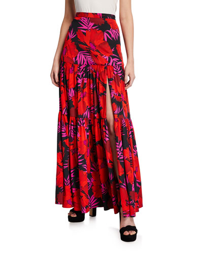 Serence Floral-Print Tiered Skirt