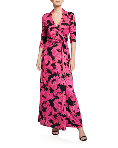 Abigail Collared 3/4-Sleeve Floral Wrap Dress
