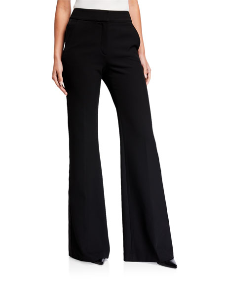 Veronica Beard Lebone Wide-Leg Pants w/ Tuxedo Stripes