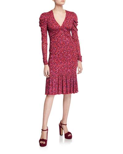 Alyssa Printed Long-Sleeve Dress