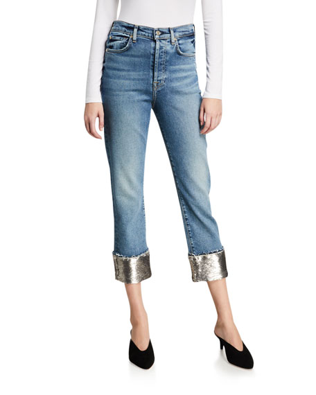 7 for all mankind Luxe Vintage Sequined Boyfriend Jeans