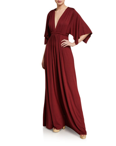 Plunge-Neck Dramatic-Sleeve Jersey Caftan Dress
