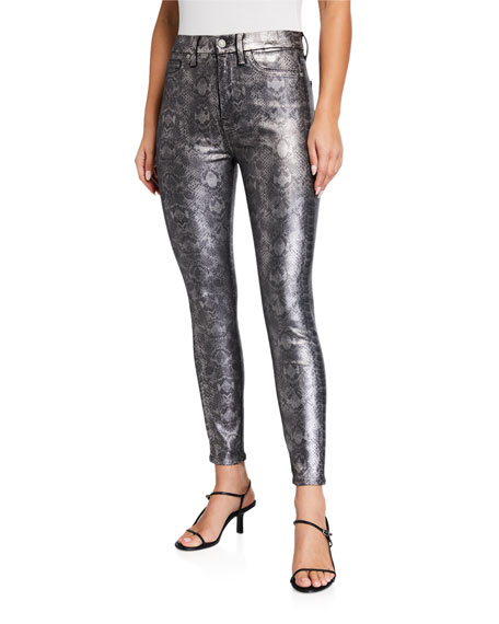 7 for all mankind High-Waist Coated Ankle Skinny Jeans