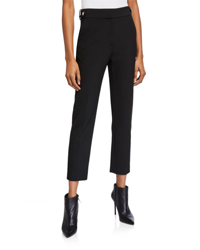 Gamila High-Rise Ankle Pants w/ Belt
