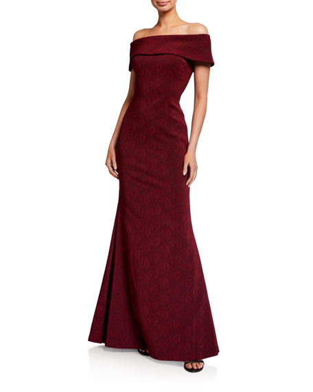 Rickie Freeman for Teri Jon Flower Stretch Jacquard Off-the-Shoulder Mermaid Gown