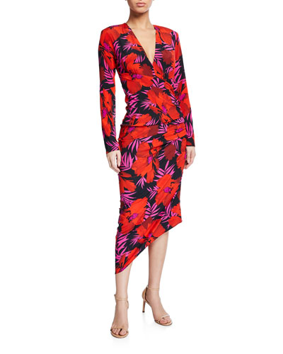 Alvaro Floral-Print Asymmetric Ruched Dress
