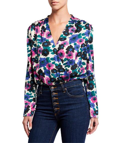 Veronica Beard Buzio Long-Sleeve Floral Top