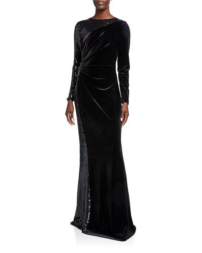 Jewel-Neck Long-Sleeve Velvet Gown w/ Sequined Side