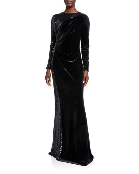Rickie Freeman for Teri Jon Jewel-Neck Long-Sleeve Velvet Gown w/ Sequined Side