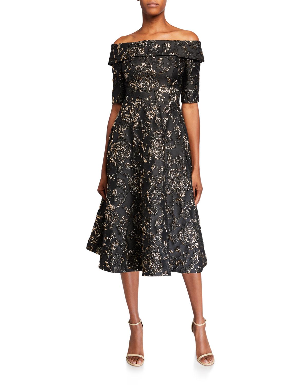 Rickie Freeman For Teri Jon Dresses TEXTURED JACQUARD OFF-THE-SHOULDER ELBOW-SLEEVE FIT-&-FLARE DRESS