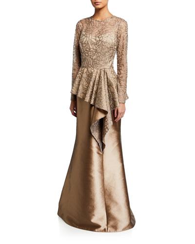 Sequin Leaf Pattern Tulle Peplum Top w/ Gazar Skirt Gown