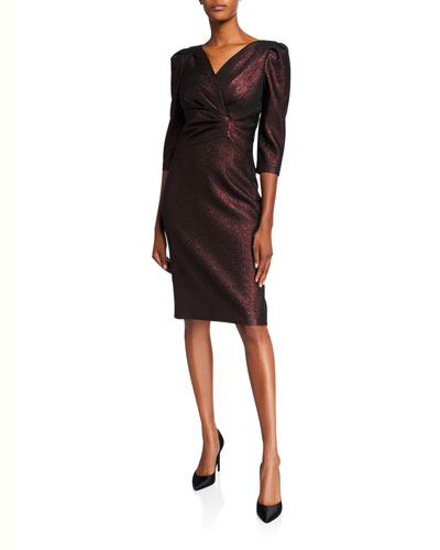 Stretch Metallic 1/2-Sleeve Draped Surplice Dress