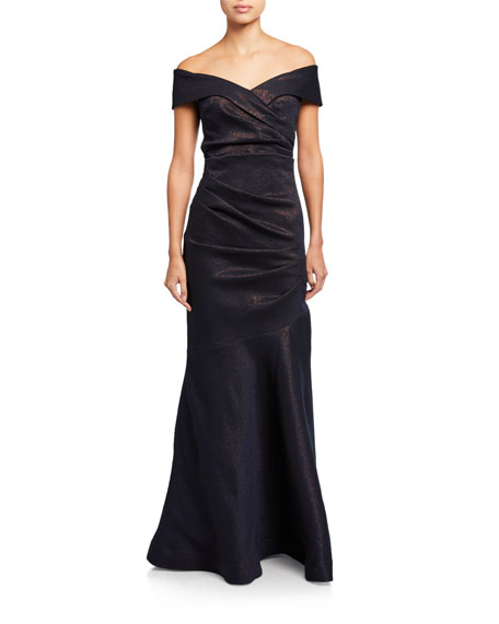 Rickie Freeman for Teri Jon Metallic Stretch Jacquard Off-the-Shoulder Ruched Gown