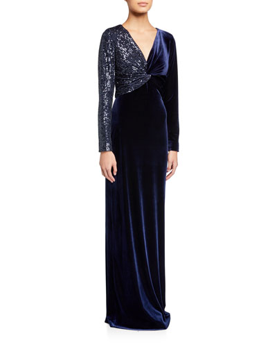 Sequin Embellished V-Neck Long-Sleeve Velvet Column Gown