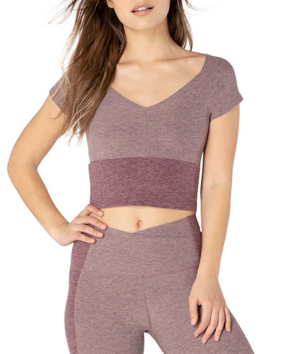 Day One Space-Dye Colorblock Short-Sleeve Cropped Top