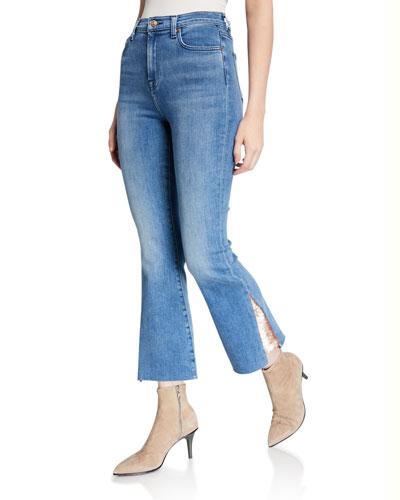 High-Waist Slim Kick Jeans w/ Sequins