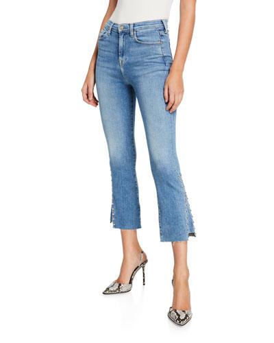 High-Waist Slim Kick Jeans with Studs