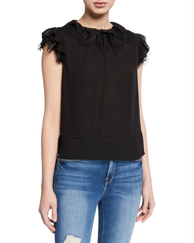 Ruffle-Neck Sleeveless Lace Top