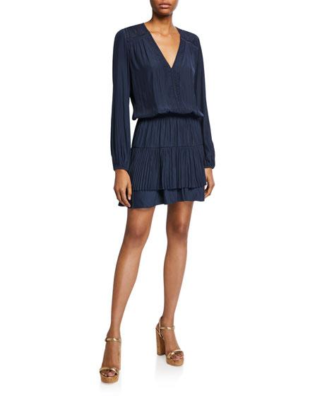 Ramy Brook Lumi Long-Sleeve Pleated V-Neck Dress