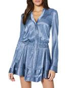 Ramy Brook Alanis Metallic Long-Sleeve Short Dress