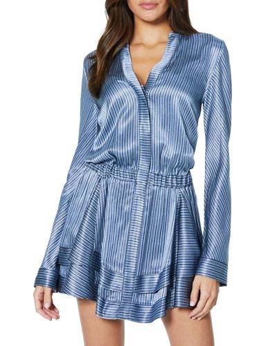 Alanis Metallic Long-Sleeve Short Dress