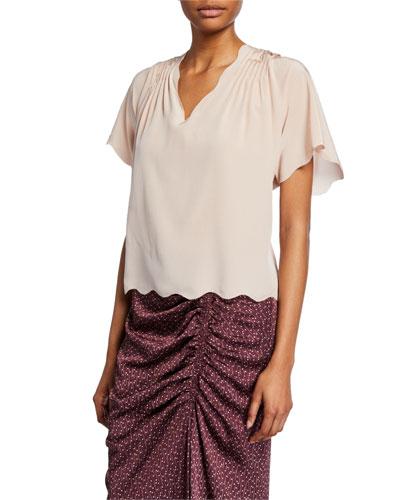 Binna Scalloped Short-Sleeve Top