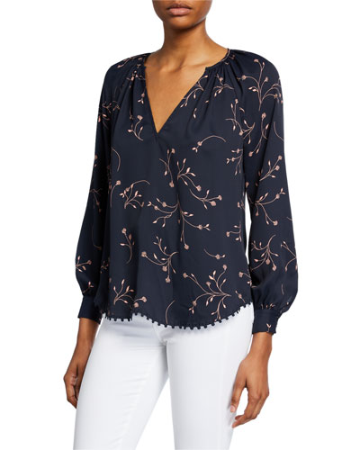 Allea Floral V-Neck Long-Sleeve Top