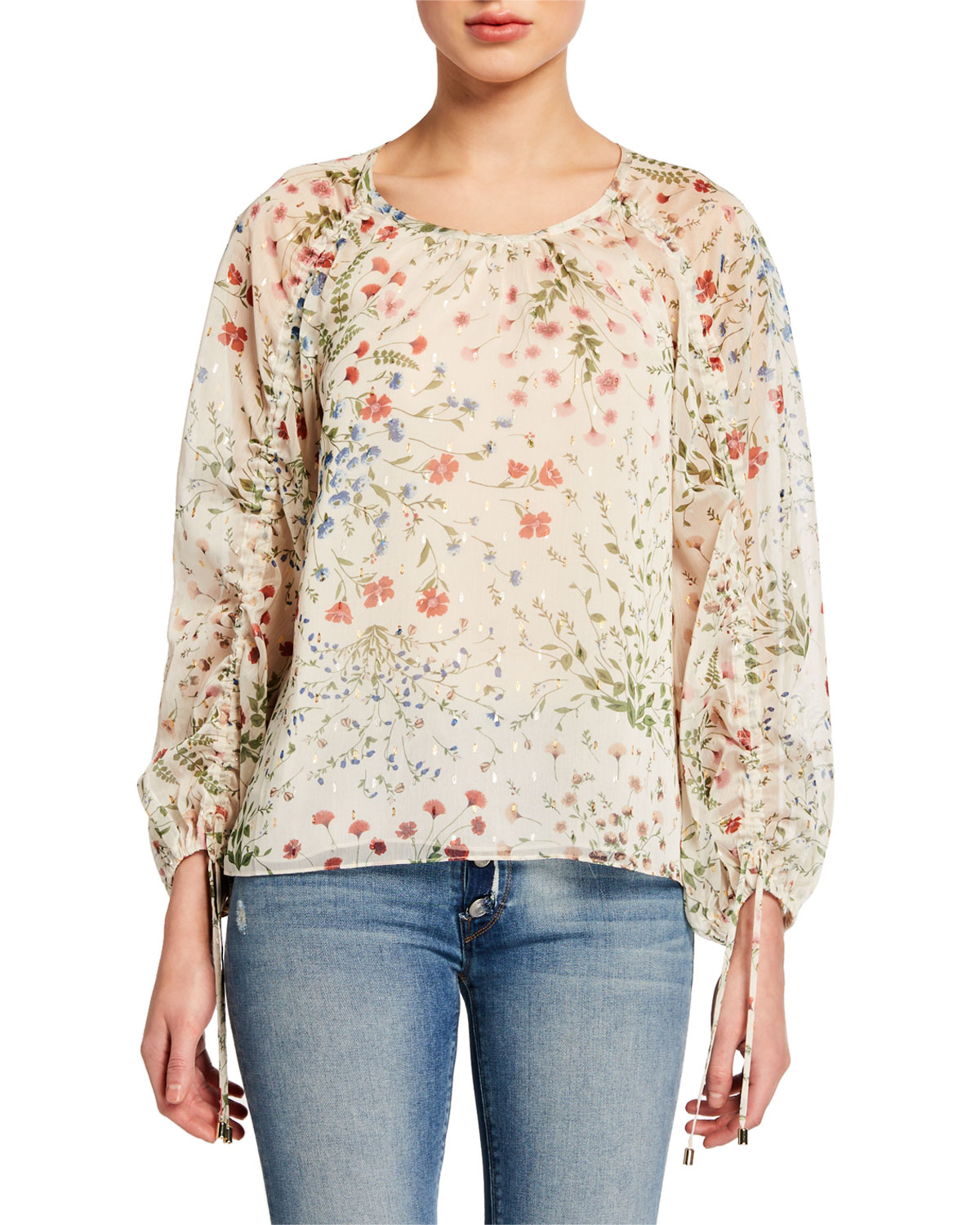 Joie Tops NEEMA RUCHED-SLEEVE FLORAL-PRINT TOP