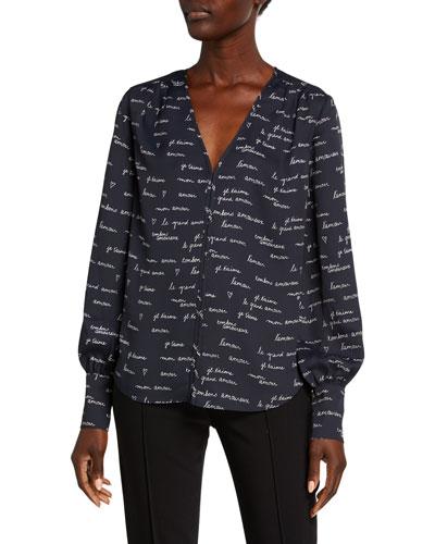 Dipak Printed V-Neck Blouson-Sleeve Top