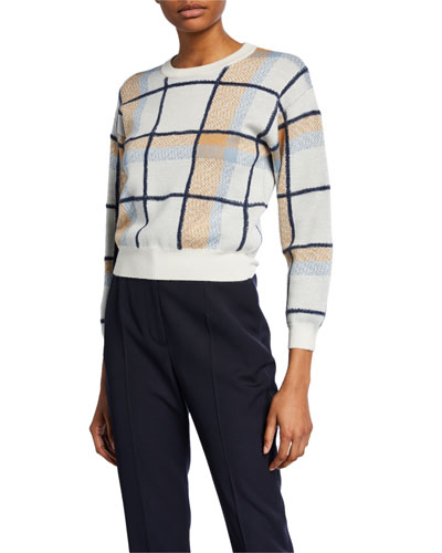 Austine Cropped Check Sweater