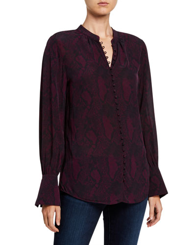 Tariana Printed Button-Down Top