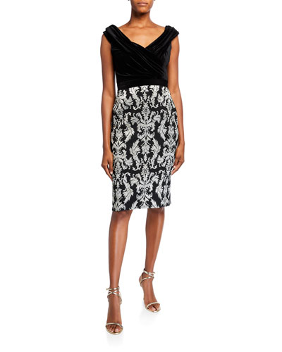 Sleeveless Jacquard Velvet Cocktail Dress