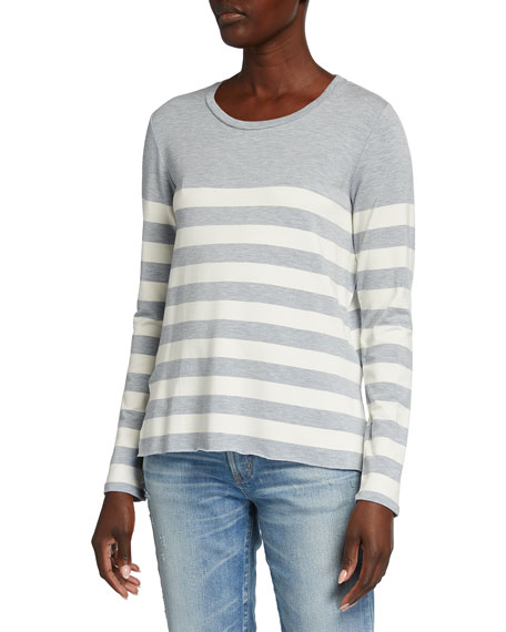 Majestic Filatures Striped French Terry Long-Sleeve Crewneck Top