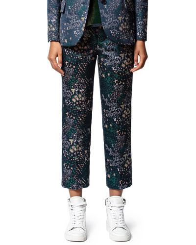 Posh Jacquard Glam Ankle Pants