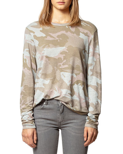 Willy Linen Camo-Print Long-Sleeve Tee