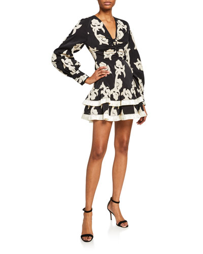 Rimini Printed Long-Sleeve Tiered Mini Dress