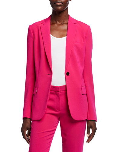 Admiral Crepe One-Button Staple Blazer